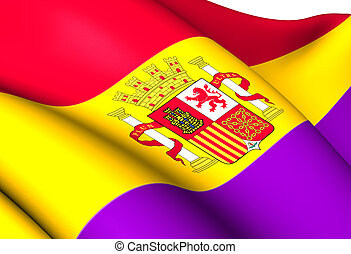 Second Spanish Republic Flag. Close Up.