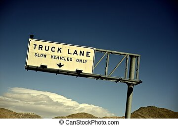 Truck Lane. Slow Vehicles Only. Nevada Highway Sign....