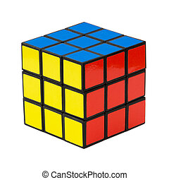 Rubiks cube on a white - In a classic Rubiks cube, each of...