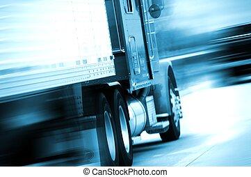 semi, camión, movimiento