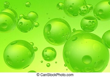 Green Bubbles - Cool Realistic Green Bubbles Background. 3D...