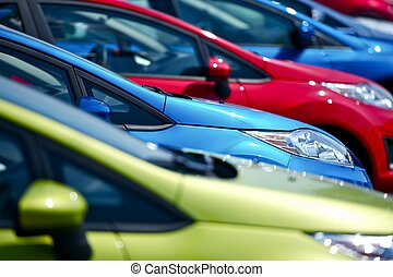 Colorful Cars Stock. Small European Vehicles in Stock. Many...