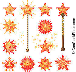 Festive Stars - Festive set with decorative shapes of stars...