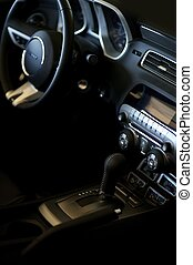 Car Interior Vertical Photo. Sporty Looking Vehicle Interior...