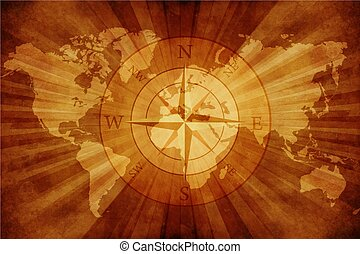 Old World Map with Compass Rose. Grungy Old Paper World Map...