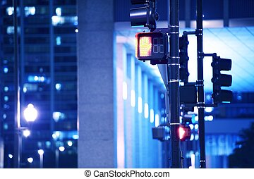 Street Traffic Lights in Downtown Chicago,Illinois USA....