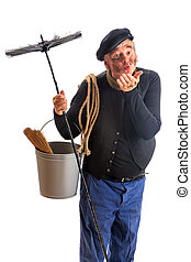Kisses from a chimney sweep - Funny chimney sweep offering a...