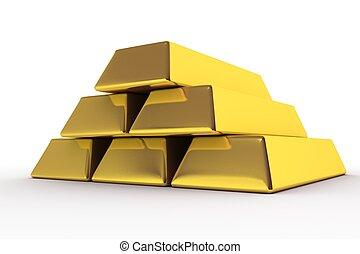 Goldbars 3D Render. Golden Bars Illustration. White...