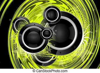 Green Music Vortex - Cool Green Music Vortex Background...