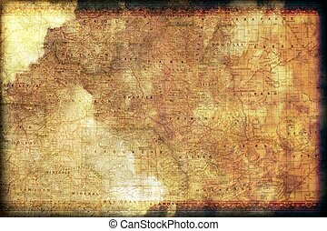 Vintage Colorado Map Background with Floral Frame Grunge Old...