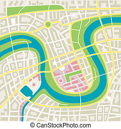 city map - illustration of an imaginary city map with river