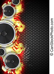 Hot Music Event Design. Cool Three Bass Speakers with Flames...
