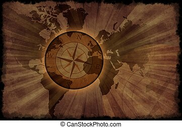 Retro World Map - Vintage World Map with Compass Rose....