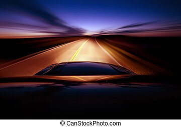 Night Ride. Driving During Night Hours. South Dakota Route....