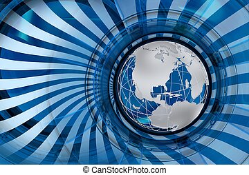 Global Markets Blue Abstract Illustration with Globe Model...