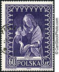 POLAND - 1956: shows Madonna by Veit Stoss - POLAND - CIRCA...