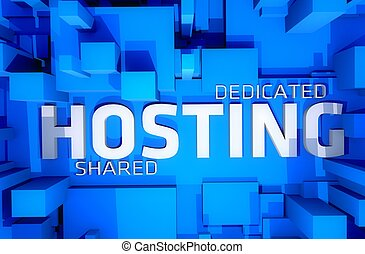 Dedicated Hosting - Shared Hosting 3D Render Illustration...
