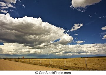 USA West Plains Colorado-Kansas Border Hot Summer Day...