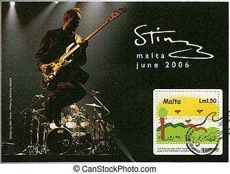 MALTA - CIRCA 2006: A stamp printed in Malta shows Sting,...