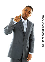 Businessman pointing at something on white background