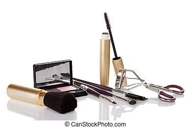 Conjunto, cepillos, maquillaje
