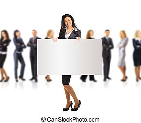 Business woman and group holding a banner ad, full length...