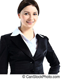 Portrait of a confident young business lady standing against...