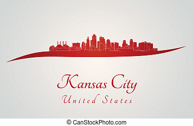 Kansas City skyline in red and gray background in editable...