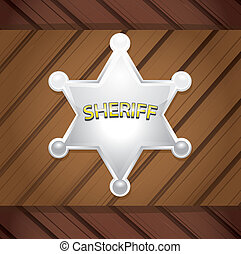 Vector Sheriffs badge on a wooden background - Vector silver...
