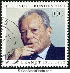 GERMANY - 1993: shows Willy Brandt (1913-1992), Statesman -...