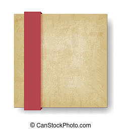 old paper background with red ribbon