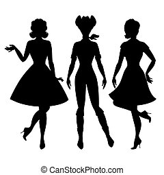 silhuetas, bonito, alfinete, cima, meninas, 1950s, estilo