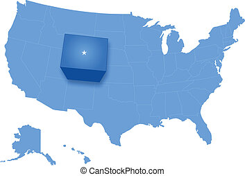 Map of States of the United States where Colorado is pulled...