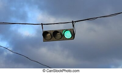 hanging traffic light - HD1080: Traffic light on the...