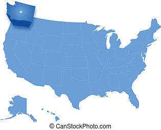 Map of States of the United States where Washington is...