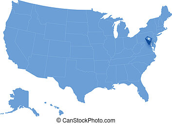 Map of States of the United States where Federal District of...