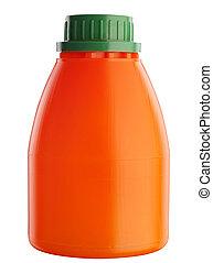 Orange plastic bottle on white