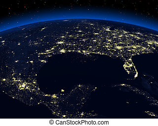Night earth - The view of a earth night cities from space