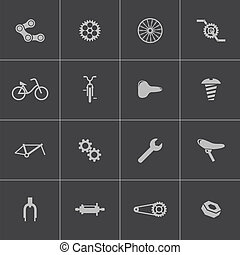 Vector black bicycle part icons set