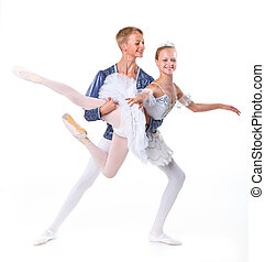 Couple of ballet dancers posing - Couple of young ballet...