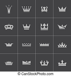 Vector black crown icons set