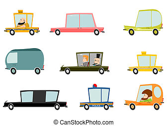 Cars - Colorful cartoon car set on a white background.