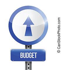 budget going up road sign illustration design