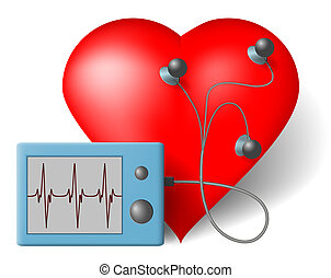 ECG heart monitor - Red heart and cardiac monitor -  ECG