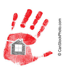 handprint and house in the middle. illustration design over...
