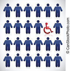 handicap in the middle of a set of people.