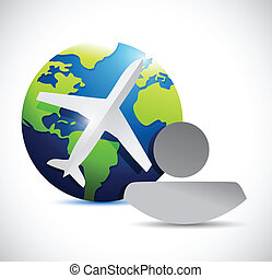 globe, airplane and people illustration design over white