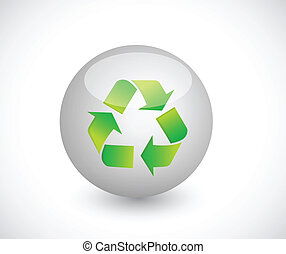 sphere and recycle illustration design over a white...