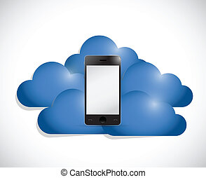 phone in the middle of a set of clouds illustration design...