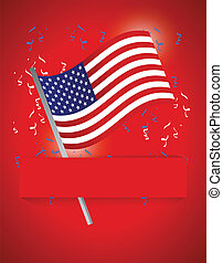 us flag patriotic background illustration design over red